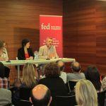 Carme Valls-Llobet, Montserrat Rueda i Manuel Cruz a l'acte de presentació de Federalistes d'Esquerres a Sentmenat