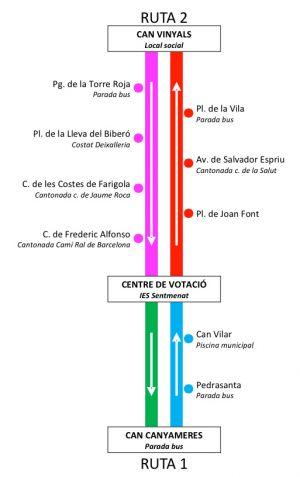 Les dues rutes de l'autobús del 9N